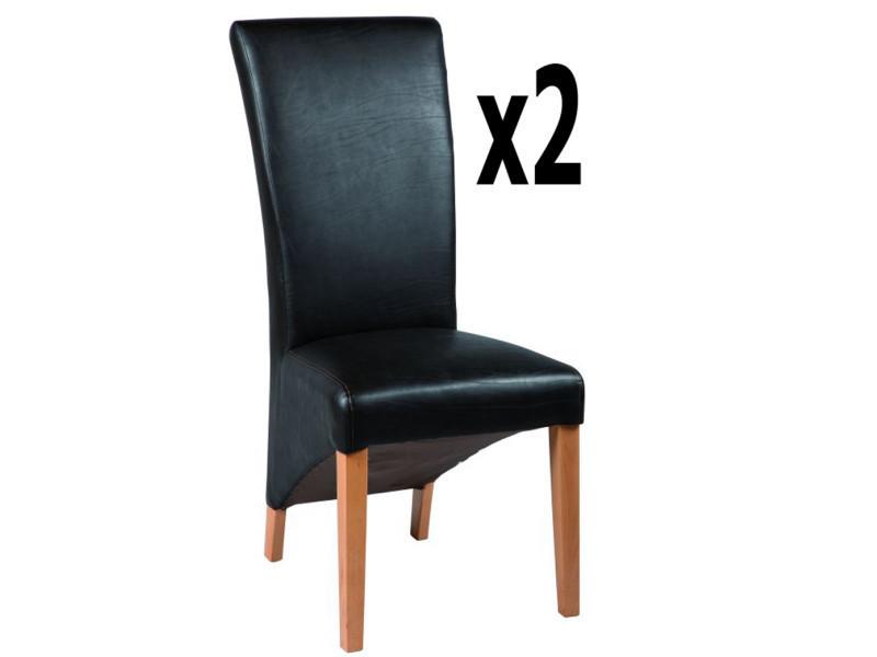 Lot de 2 chaises en polyuréthane coloris marron foncé, h 1100 x ht ass 510 x l 490 x p 650 mm -pegane-