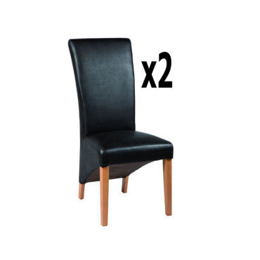 Lot de 2 chaises en polyuréthane coloris marron foncé, h