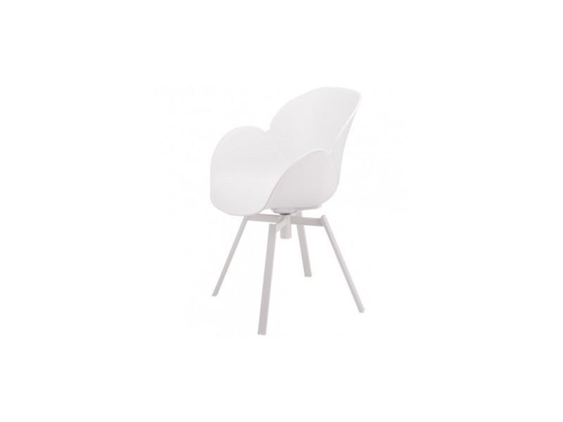 Lot de 4 fauteuils design blanc et métal cocoon