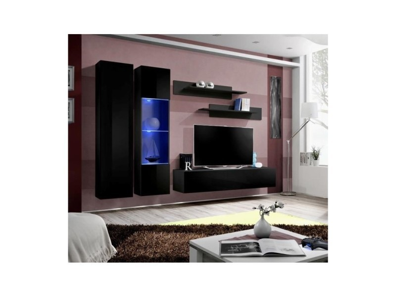 Meuble Tv Fly A5 Design Coloris Noir Brillant Led Meuble