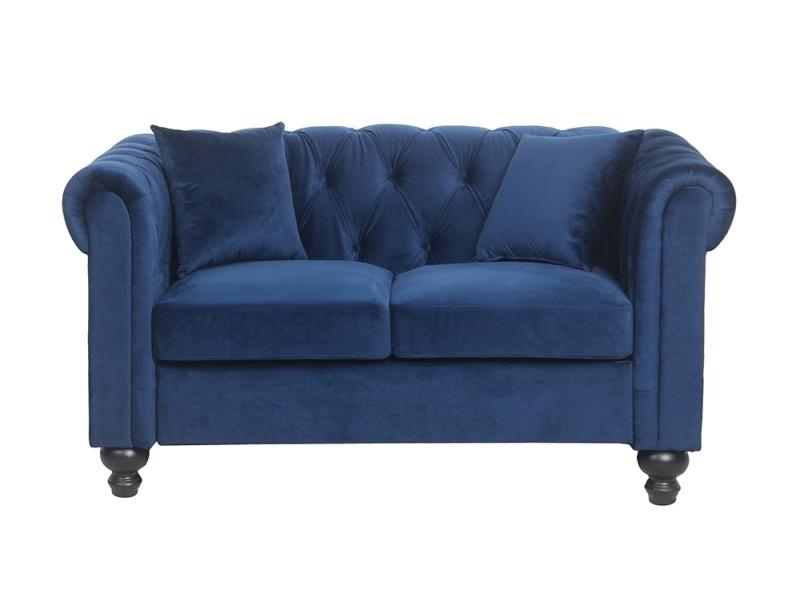 canap chesterfield alfred 2 places en velours bleu vente de canap droit conforama. Black Bedroom Furniture Sets. Home Design Ideas