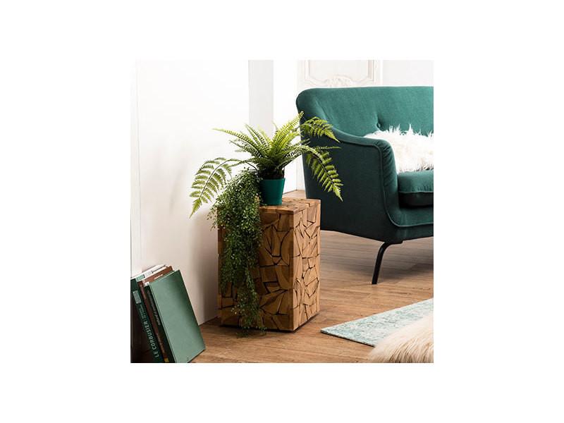 Table d'appoint bois carrée mozaïque 30x30cm teck