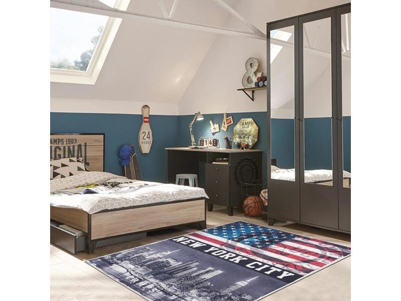 Tapis chambre adolescent nyc camps gris, noir, bleu, rouge ...