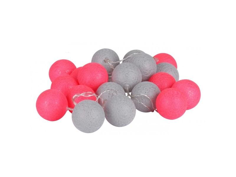 Guirlande lumineuse led à piles multicolore - gris et rose