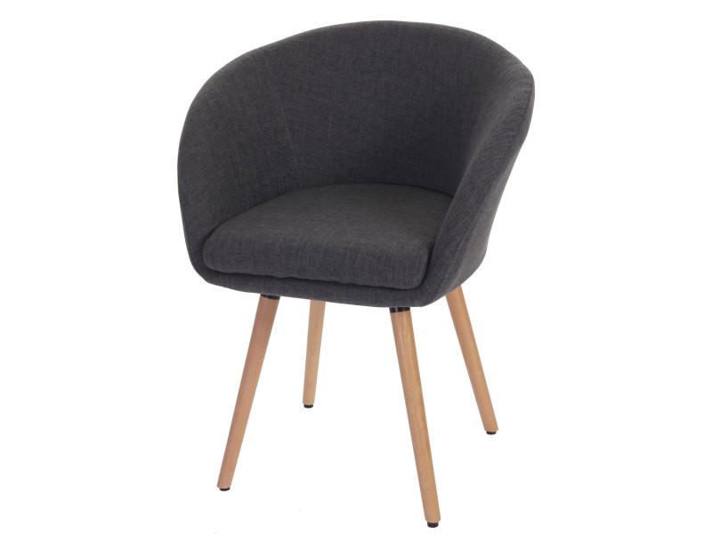 Chaise de salle à manger malmö t633, fauteuil, design rétro des années 50 ~ tissu, gris