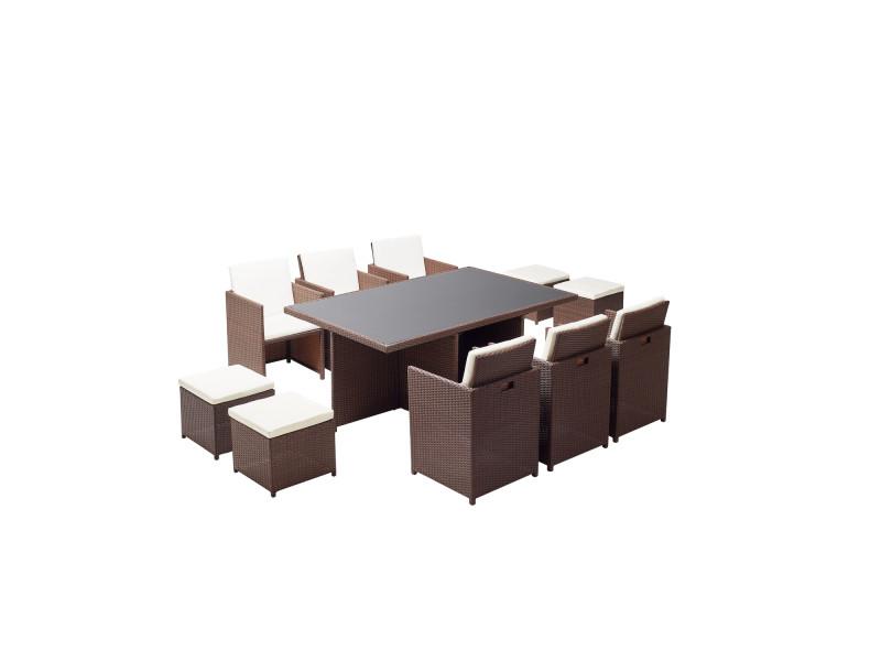 Le sherka : salon de jardin encastrable 10 places en résine tressée marron coussins blancs 221874