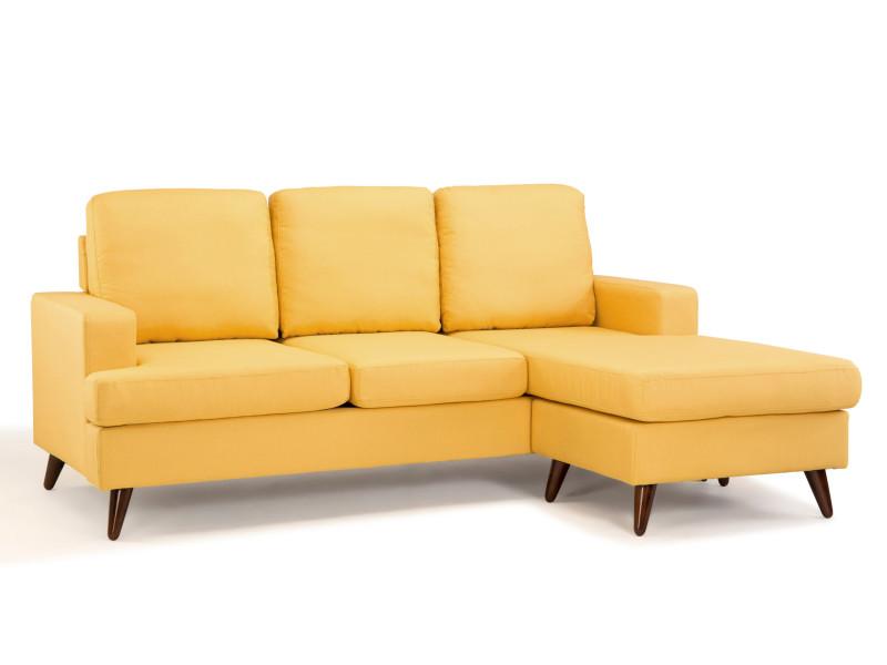 Lund canapé 3 places angle en tissu jaune moutarde