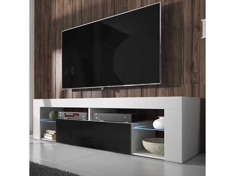 Meuble Tv Hugo 140 Cm Blanc Mat Noir Brillant Avec Led