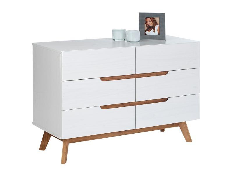 Commode tibor style scandinave design vintage nordique avec 6 tiroirs, en pin massif lasuré blanc