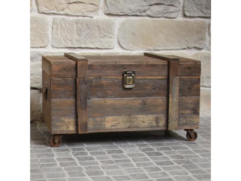 Grand coffre style ancien à roulettes table basse 80 cm x 49 cm x 48 cm