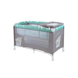 Lit parapluie bébé / lit pliant à 2 niveaux nanny 2 lorelli vert