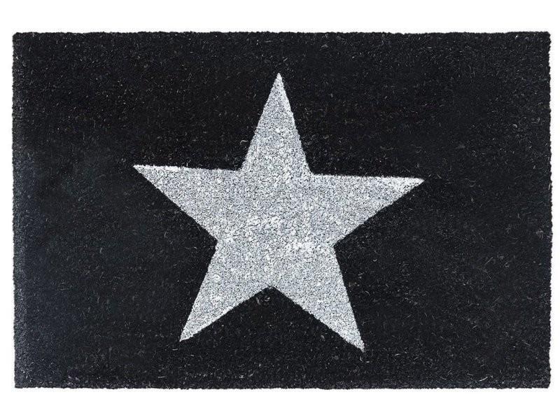 Paillasson tapis porte d'entrée essuie-pieds fibre de coco noir/blanc étoile 40 x 60 cm helloshop26 2013025