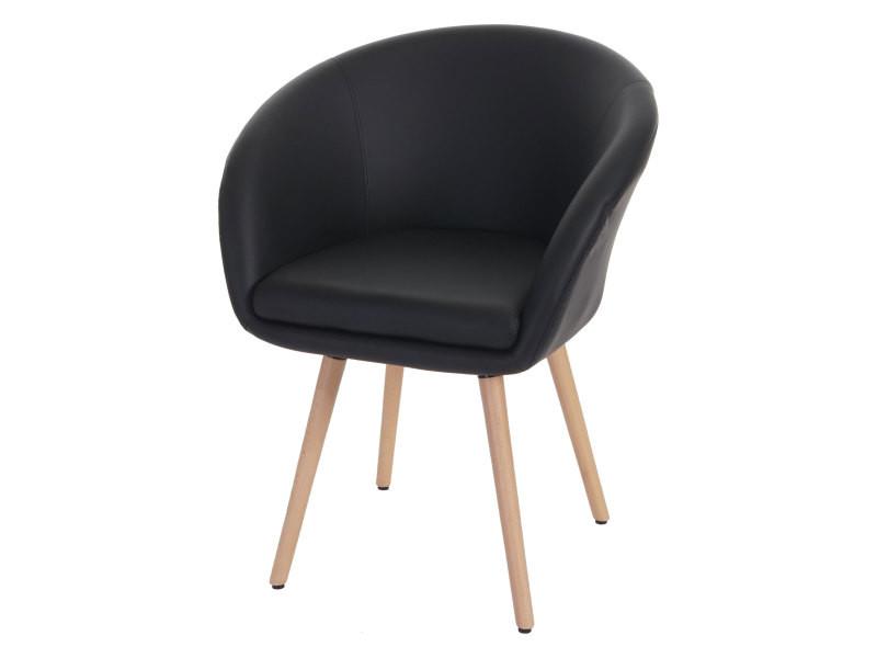 Chaise de salle à manger malmö t633, fauteuil, design rétro des années 50 ~ similicuir, noir
