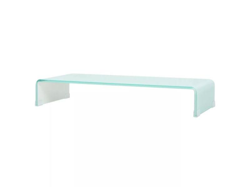 Meuble télé buffet tv télévision design pratique support pour moniteur 80 cm verre blanc helloshop26 2502231