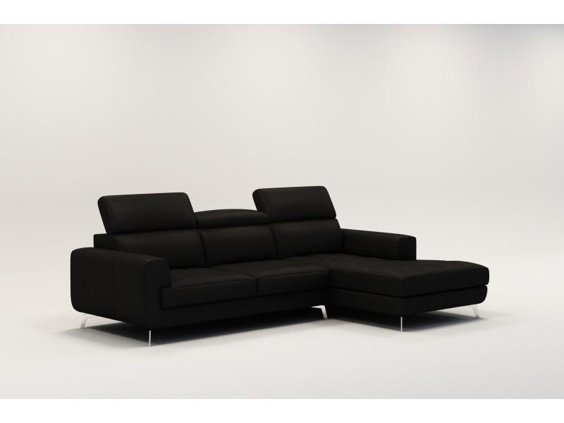 Canapé d'angle design en cuir noir vogue-