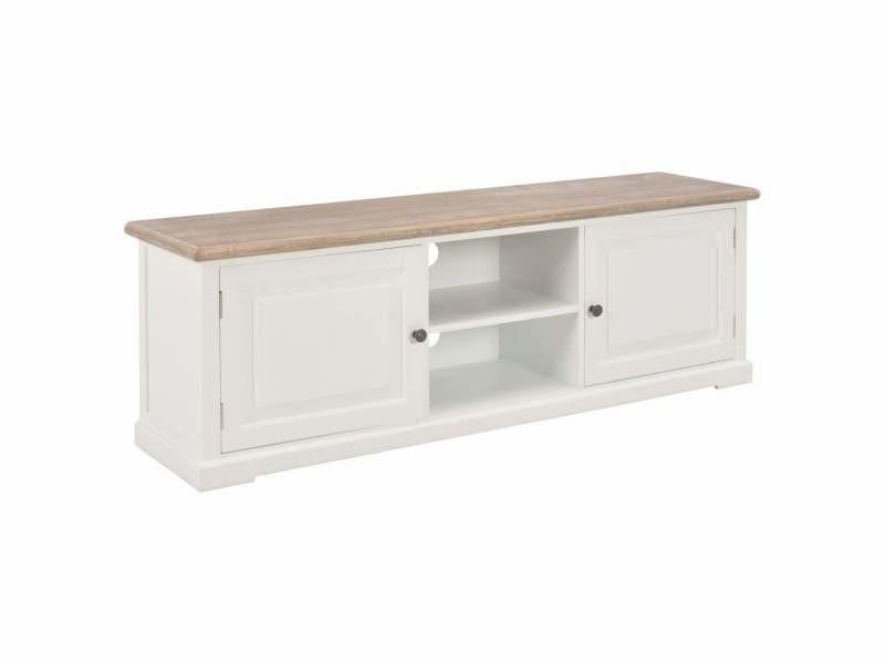 Meuble télé buffet tv télévision design pratique blanc 120 cm bois helloshop26 2502056