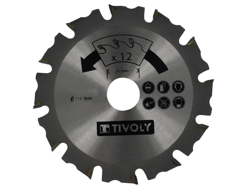 Lame de scie à bois tivoly ø115mm 12 dents alesage ø22,22mm acier carbure spécial meuleuse pour tout type de bois