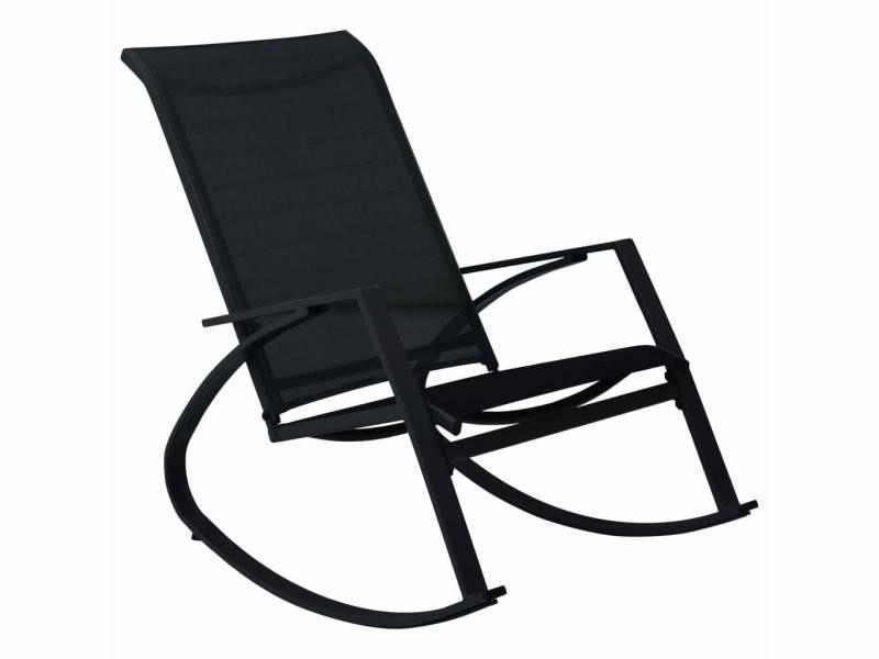 Vidaxl chaises à bascule de jardin 2 pcs textilène noir 48123