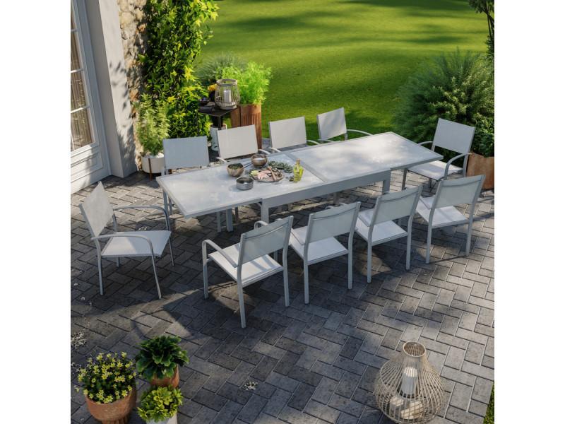 Table de jardin extensible aluminium 270cm + 10 fauteuils empilables textilène gris - lio 10
