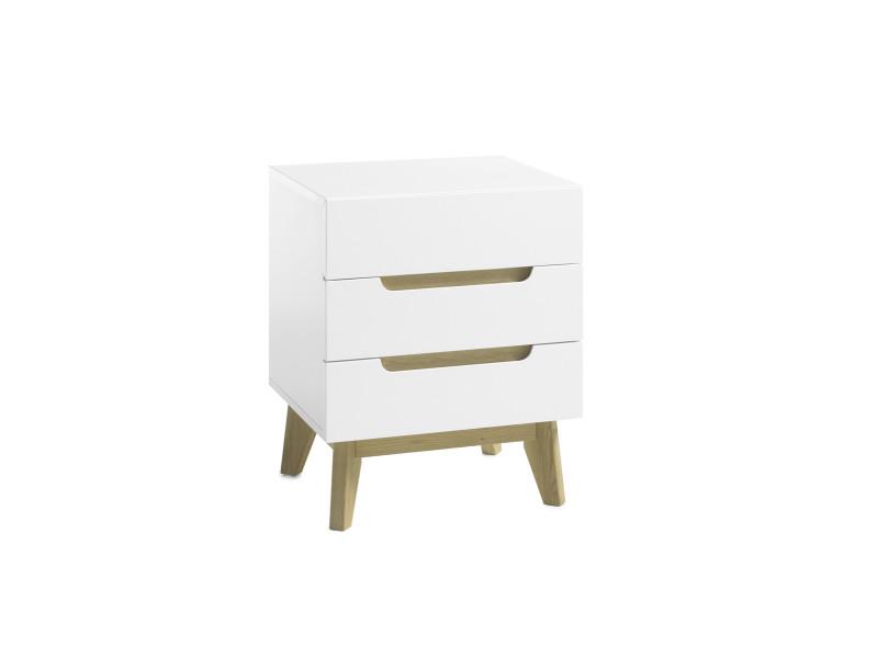 Chevet en laqué blanc mat avec pieds en bois - l48 x h60 x p40 cm -pegane-