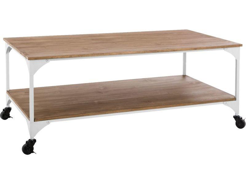 Table basse industrielle bohemian dream - l. 110 x h. 45 cm - blanc