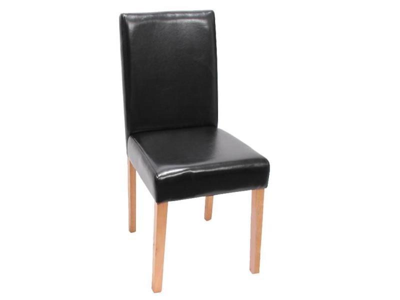 lot de 6 chaises de salle manger simili cuir noir pieds clairs cds04245 conforama. Black Bedroom Furniture Sets. Home Design Ideas