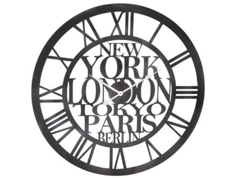Horloge vintage en métal noir 60 cm atmosphéra