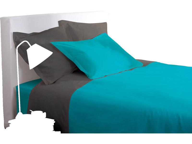 Drap housse - 140 x 190 cm - turquoise -