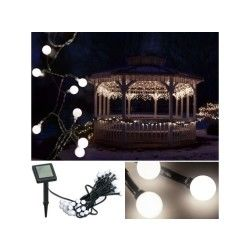 Guirlande solaire 50 boules lumineuses blanches