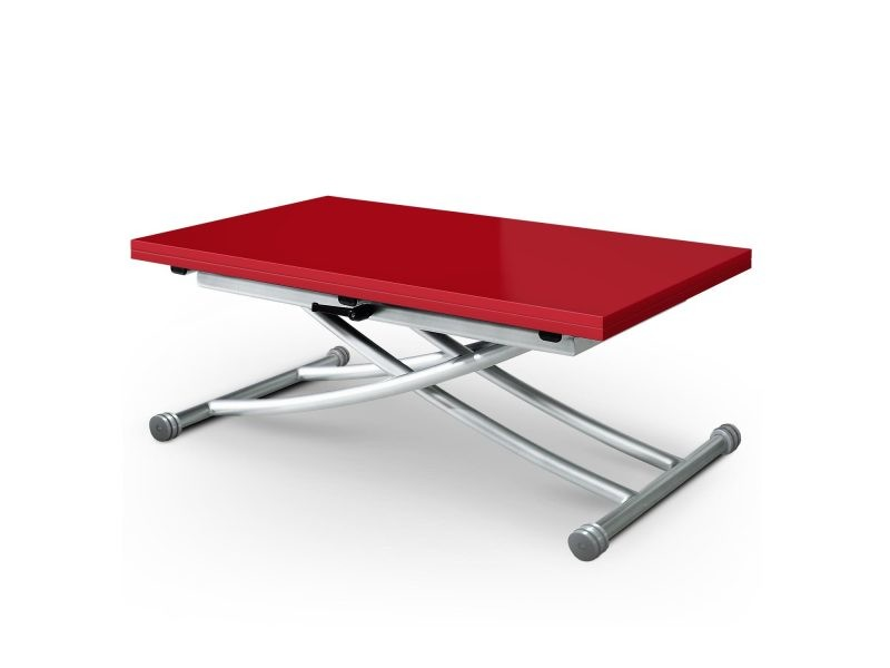 Table basse relevable carrera rouge laqué