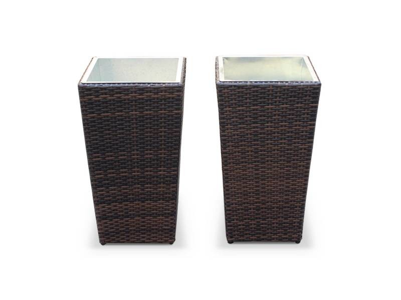 Lot de 2 pots de fleur 60cm - prato chocolat - résine tressée, pot en acier galvanisé, structure aluminium