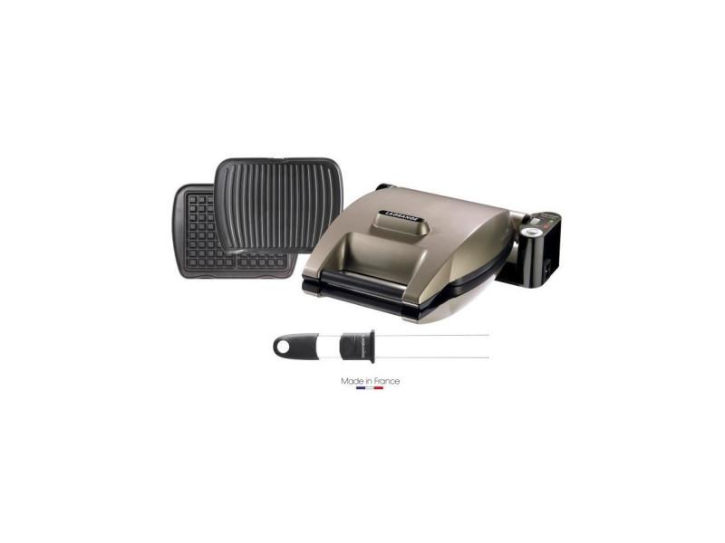 019323 gaufrier premium + 2 jeux de plaques gaufres et panini/grill viande + pic a gaufres - taupe LAG3196200193233