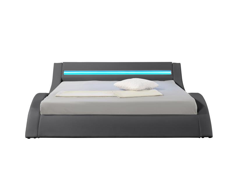 hypnia lit design led gris 140 x 190 cm vente de hypnia conforama. Black Bedroom Furniture Sets. Home Design Ideas