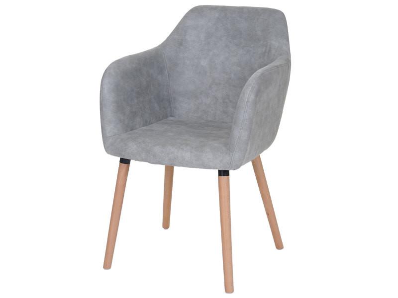 Chaise de séjour / salle à manger malmö t381, style rétro des années 50 ~ tissu, vintage gris béton