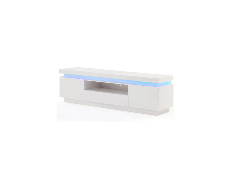 Flash Meuble Tv Avec Led Contemporain Blanc Laque Brillant L 165 Cm Flash04 Vente De Divers Conforama