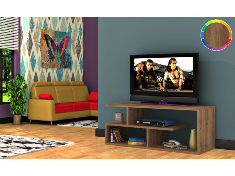 Meuble tv design optimum motif bois noyer marron clair