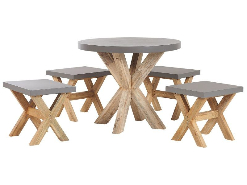 Set de jardin table ronde et 4 tabourets en fibre-ciment gris et bois olbia 263397