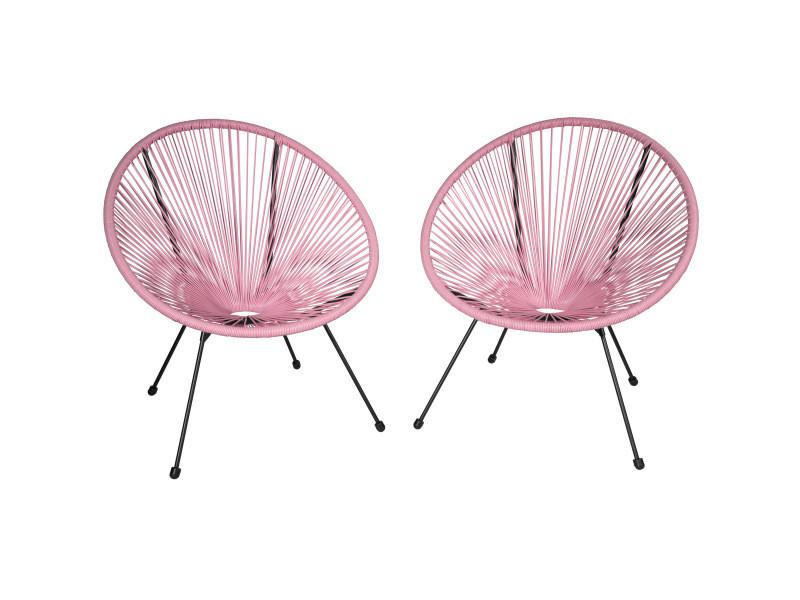 Tectake lot de 2 chaises de jardin gabriella - rose vif 403304