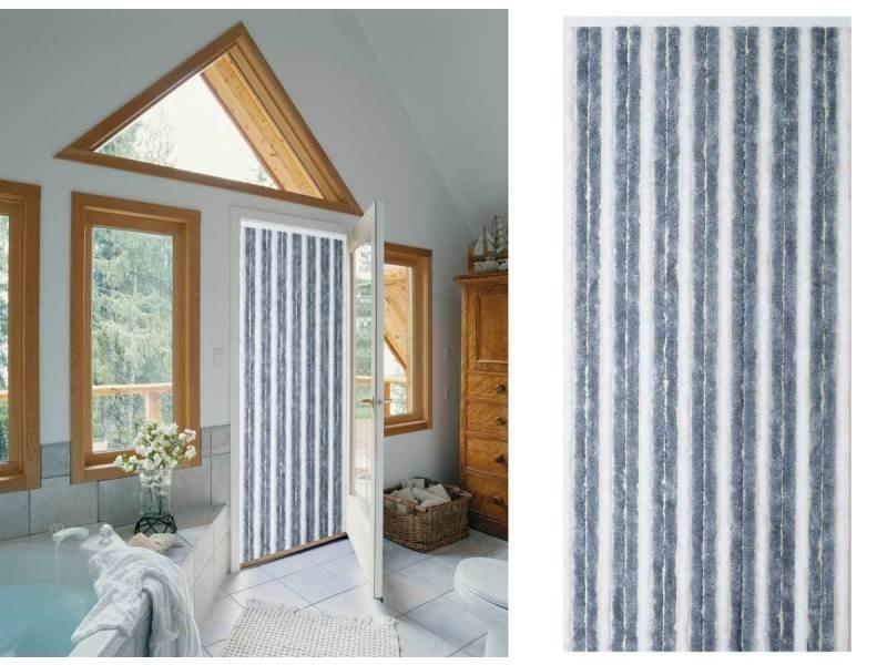 Rideau chenille bicolore gris/blanc 90x220 cm