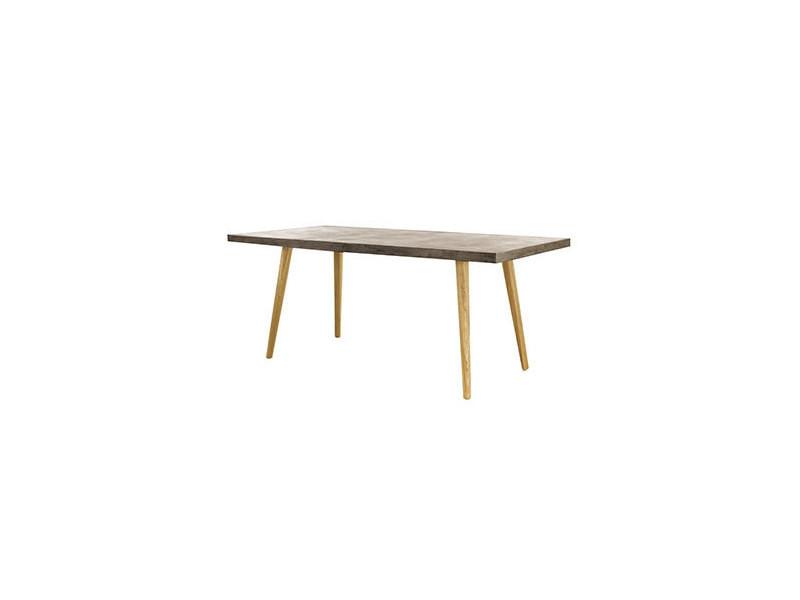 Table repas 180 cm en béton et chêne
