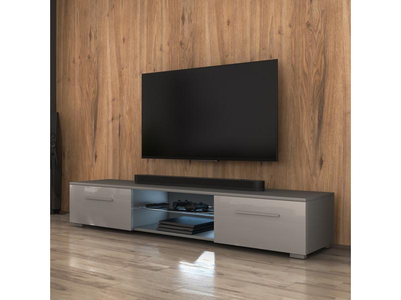 Meuble tv - Syvis - 140 cm - gris mat / gris brillant - led