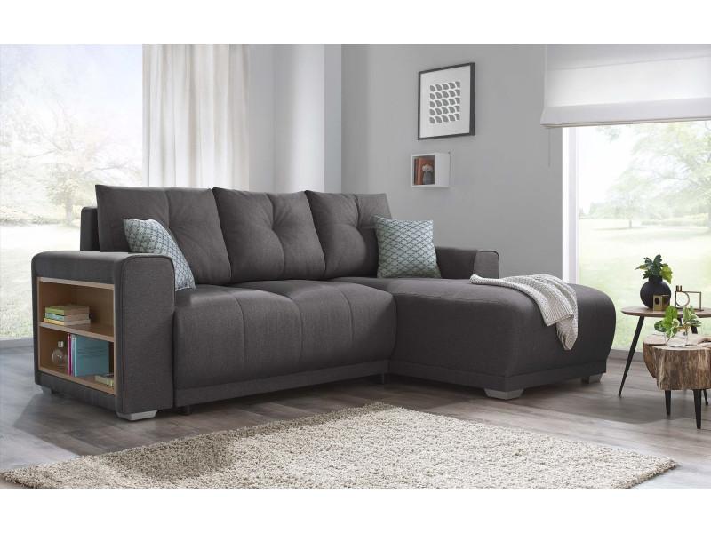 canape d 39 angle convertible lisbona avec tag re droit 2 pts coussins deco offerts durando gris. Black Bedroom Furniture Sets. Home Design Ideas