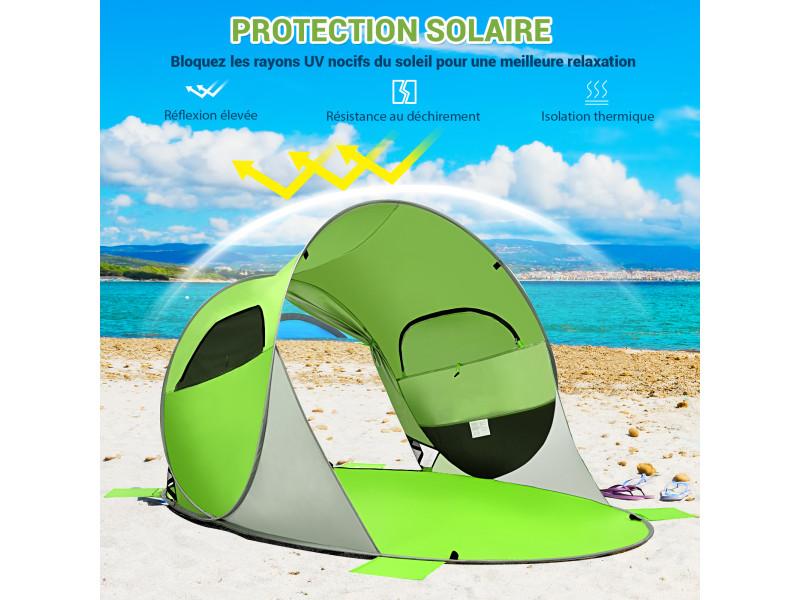 Giantex tente de plage pliable pop-up automatique instantanée 3-4 personnes anti uv 220x159x115cm avec 8 sardines 4 cordes d'ancrage