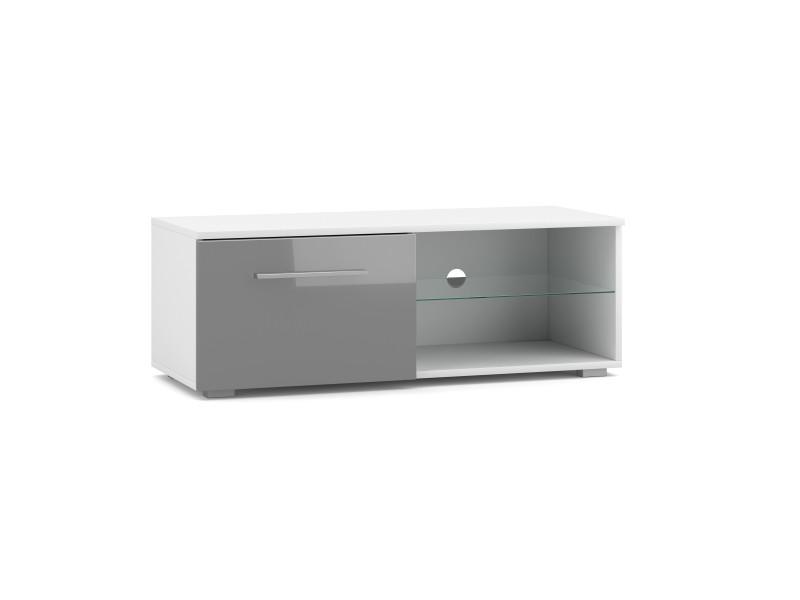 Meuble tv moderniste punes blanc / gris brillant 200 cm