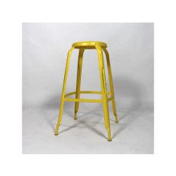 Tabouret de bar industriel depot jaune     stab-jaune