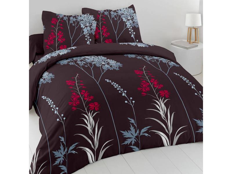 Parure de draps 100% coton flore - marron