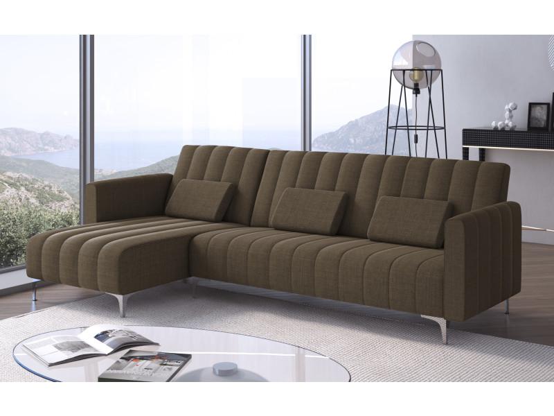 Canapé-lit chaise longue milano 267cm, convertible en lit, réversible, marron avec rayures