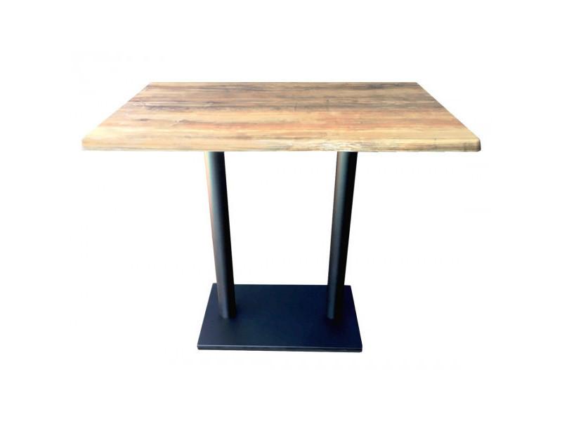 Oldwood - table haute avec plateau effet bois vieilli