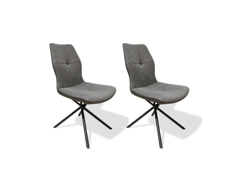 Lot de 2 chaises tissu gris anthracite - montaine