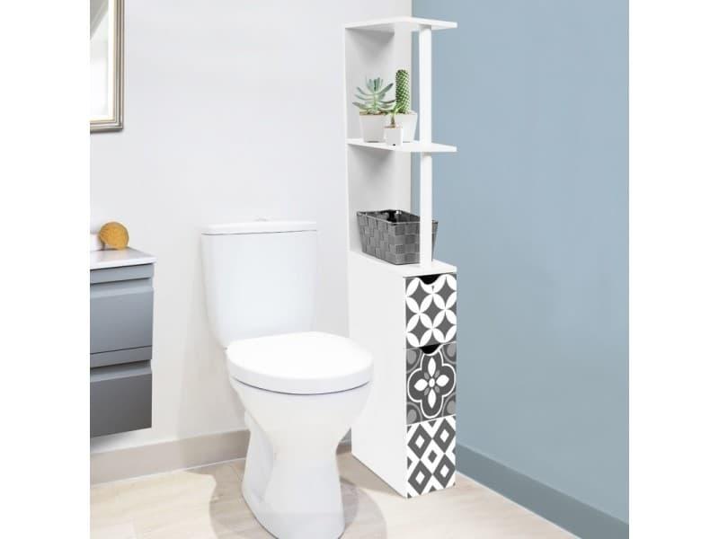Meuble wc étagère 2 portes motif carreaux de ciment gris